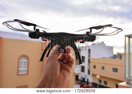 Technology Copter closeup Aircraft Drone Quadrocopter with a raised chassis