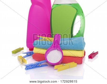 Washing powder and gel for washing. Preparing the wash cycle.