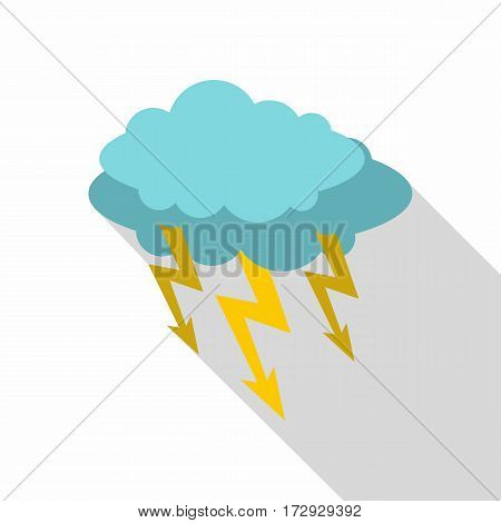 Storm cloud lightning bolt icon. Flat illustration of storm cloud lightning bolt vector icon for web isolated on white background