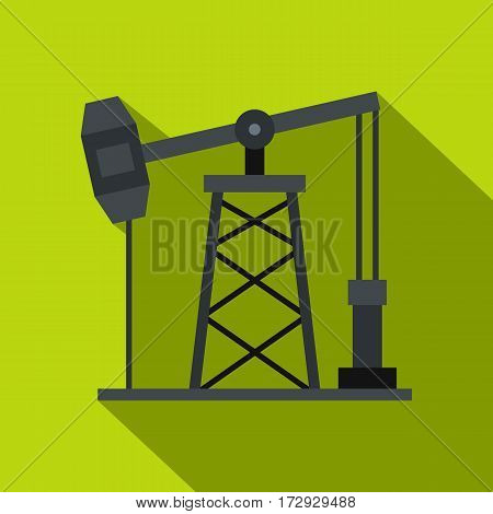 Oil pump icon. Flat illustration of oil pump vector icon for web isolated on lime background