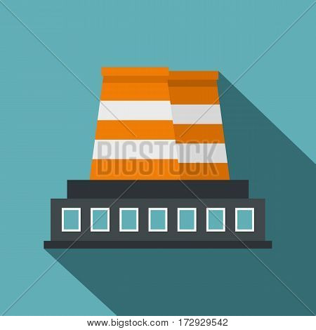 Industrial building icon. Flat illustration of industrial building vector icon for web isolated on baby blue background