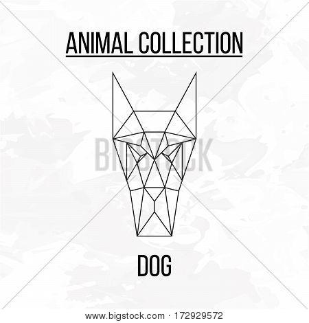 Geometric polygonal animal dog head isolated on white background