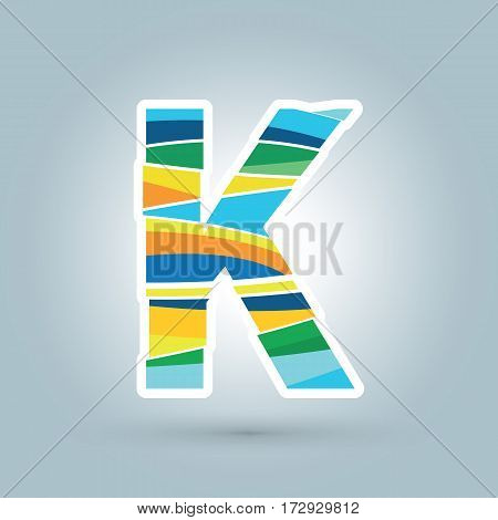Vector abstract K geometric letter logo template. Overlapping transparent wave elements composition