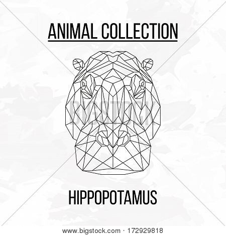 Hippopotamus head geometric lines silhouette isolated on white background vintage design element
