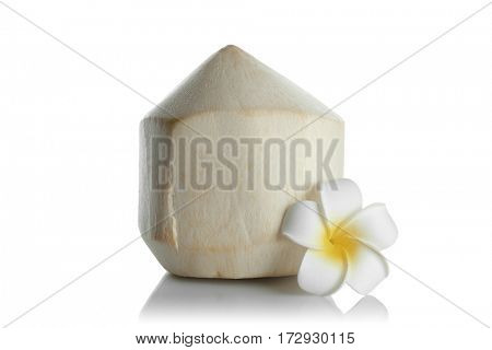 Coconut with plumeria on white background
