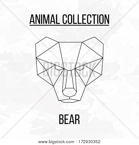 Bear head geometric lines silhouette isolated on white background vintage design element