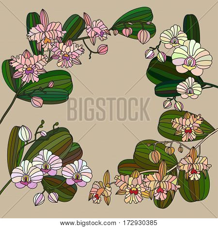 Card with tropic flower - orchid. Can be used for Invitation to the wedding or background.