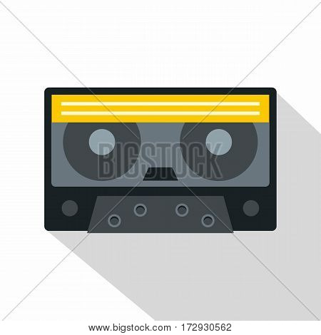 Retro cassette tape icon. Flat illustration of retro cassette tape vector icon for web isolated on white background