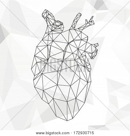 Geometric heart isolated on white background vintage design element