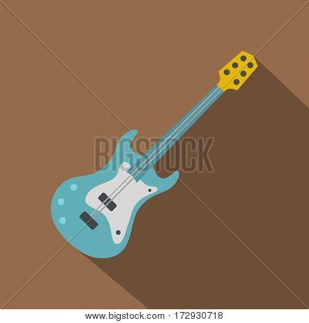 Blue electric guitar icon. Flat illustration of blue electric guitar vector icon for web isolated on coffee background