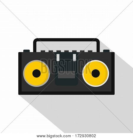 Vintage black tape recorder for audio cassettes icon. Flat illustration of vintage black tape recorder for audio cassettes vector icon for web isolated on white background