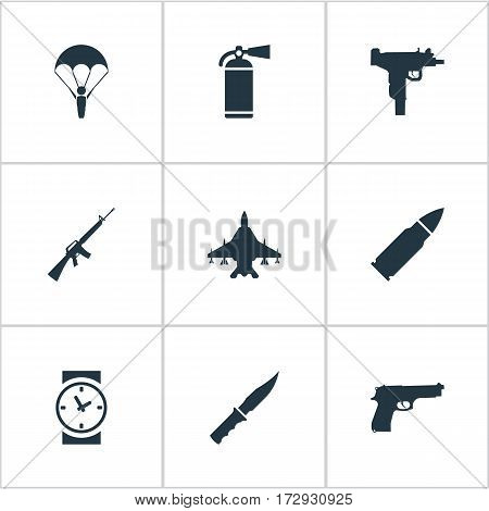 Set Of 9 Simple Terror Icons. Can Be Found Such Elements As Rifle Gun, Firearm, Paratrooper And Other.