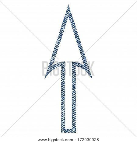 Sharp Arrow Up vector textured icon for overlay watermark stamps. Blue jeans fabric vectorized texture. Symbol with unclean design. Blue ink rubber seal stamp with fiber textile structure.