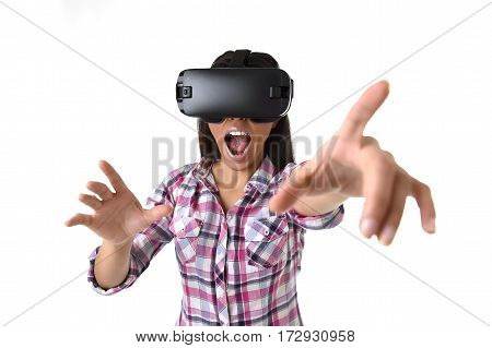 young attractive happy woman excited using 3d goggles watching 360 virtual reality vision enjoying the fun cyber experience in vr simulation reality and new gaming technology concept