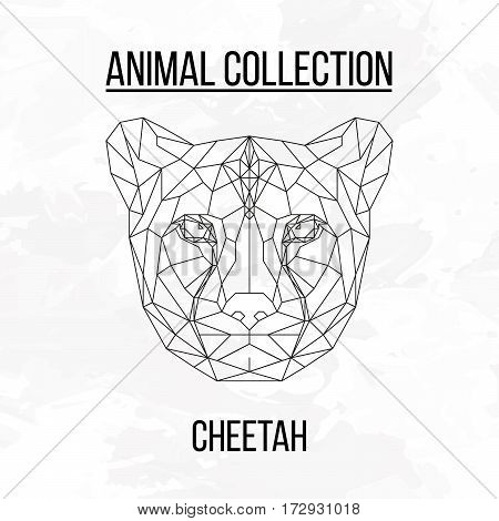 Cheetah head geometric lines silhouette isolated on white background vintage design element