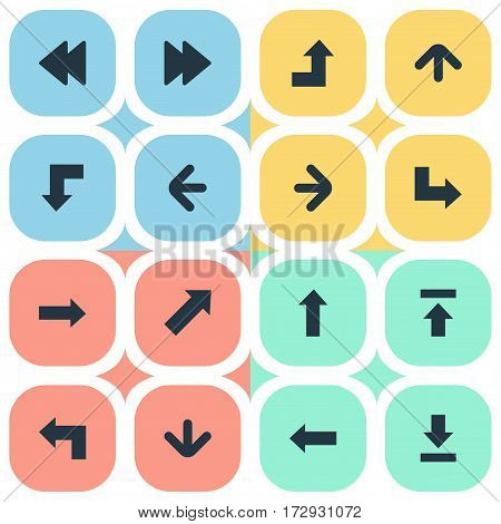 Set Of 16 Simple Pointer Icons. Can Be Found Such Elements As Pointer, Right Direction, Increasing And Other.