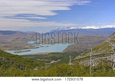 Patagonian Panorama in Torres del Paine National Park in Chile