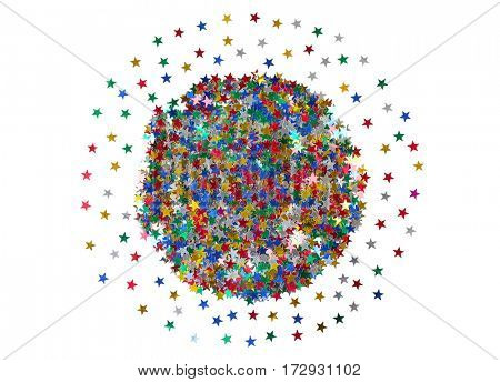 Bright confetti in shape of stars on white background