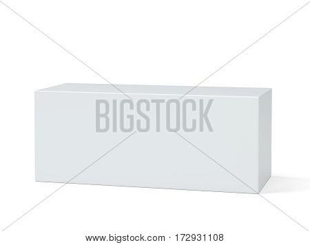 White box. Pedestal. Stand Empty podium 3D rendering on white background
