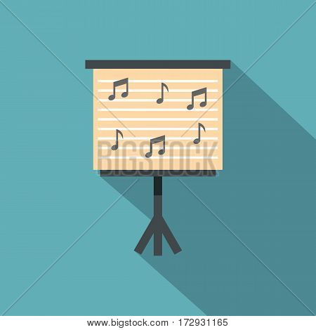 Music stand with piano notes icon. Flat illustration of music stand with piano notes vector icon for web isolated on baby blue background