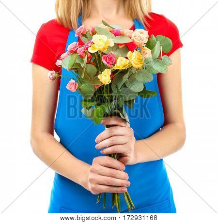 Female florist holding flower bouquet isolated on white background