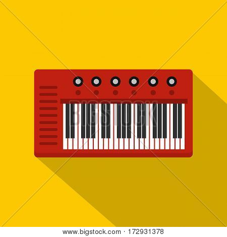 Red synthesizer icon. Flat illustration of red synthesizer vector icon for web isolated on yellow background