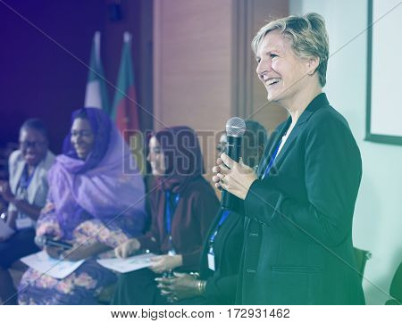 Speaker Woman Hold Microphone International Conference