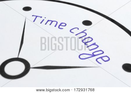 Phrase TIME CHANGE on clock dial
