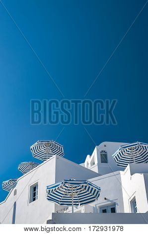 A view looking up to an apartment complex at imerovigli on the greek isle of Santorini.