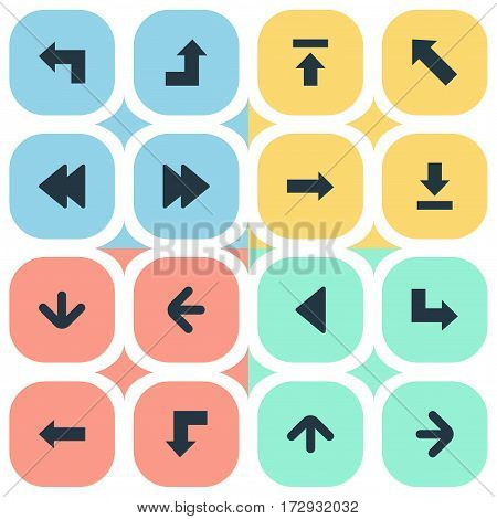 Set Of 16 Simple Pointer Icons. Can Be Found Such Elements As Pointer, Downwards Pointing, Rearward And Other.