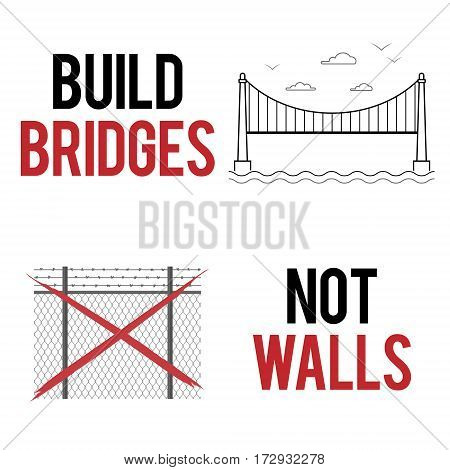 Build bridges not walls text. Creative modern poster flyer template for march demonstration against anti-immigration policies. Social issues on refugees or illegal immigrants