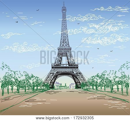 Colorful Landscape with hand drawing Eiffel tower vector illustration