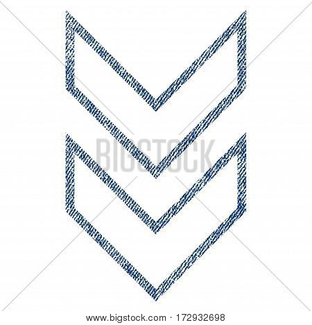 Shift Down vector textured icon for overlay watermark stamps. Blue jeans fabric vectorized texture. Symbol with dust design. Blue ink rubber seal stamp with fiber textile structure.