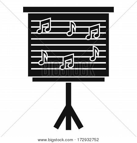 Whiteboard with music notes icon. Simple illustration of whiteboard with music notes vector icon for web