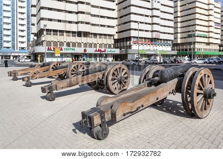 SHARJAH UAE - NOV 28 2016: Old guns at the historic Al Hisn fort in the city of Sharjah. United Arab Emirates Middle East