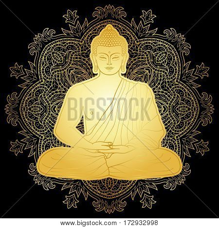 Sitting Gold Buddha in Lotus position on mandala round background isolated on black. Sign for tattoo, textile print, mascots and amulets. Esoteric coloring page.