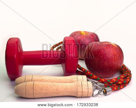 Apple Health FoodsHealthy food in heart and cholesterol diet exercise concept.