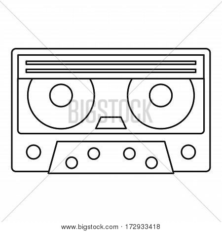 Cassette tape icon. Outline illustration of cassette tape vector icon for web