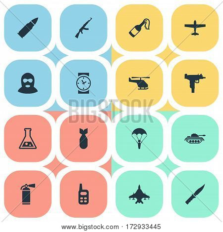 Set Of 16 Simple War Icons. Can Be Found Such Elements As Heavy Weapon, Air Bomber, Nuke And Other.