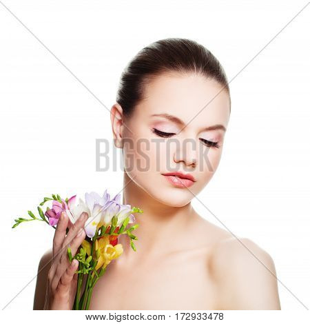 Perfect Woman with Healthy Skin Isolated. Spa Model with Flowers