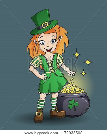 Cute cartoon irish leprichaun girl with the pot full of golden coins. Color vector illustration for St. Patricks Day