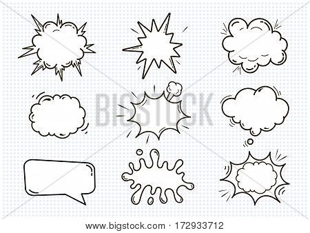 Empty Comic sound speech bubbles. Set isolated on white background vector illustration. clouds with place for text.
