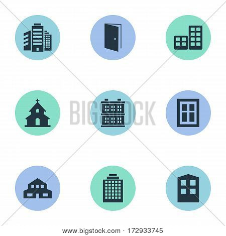 Set Of 9 Simple Architecture Icons. Can Be Found Such Elements As Glazing, Residential, Superstructure And Other.