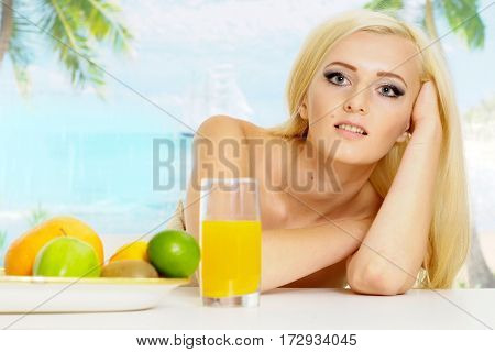 Honey blonde relaxing on an expensive resort