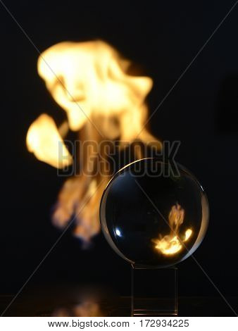 Fire ball figures cube black background magic spells