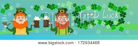 Saint Patrick Day Beer Festival Banner Greeting Card Flat Vector Illustration