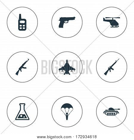 Set Of 9 Simple War Icons. Can Be Found Such Elements As Walkies, Kalashnikov, Heavy Weapon And Other.