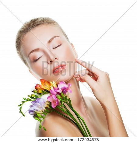 Relaxing Woman Spa Model Isolated on White Background. Spa Beauty and Skin Care