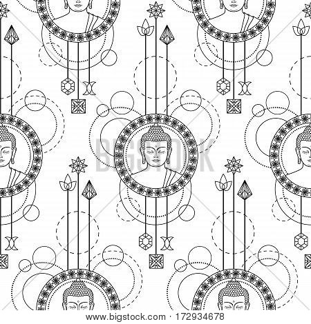 Seamless pattern with Buddha head with abstract elements. Sign for tattoo, textile print, mascots and amulets on white background.