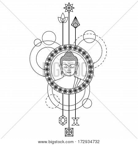 Buddha head with abstract elements. Sign for tattoo, textile print, mascots and amulets on white background.